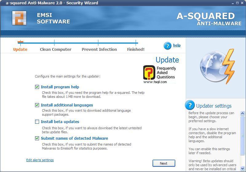 מסך עדכון התוכנה, free a squared