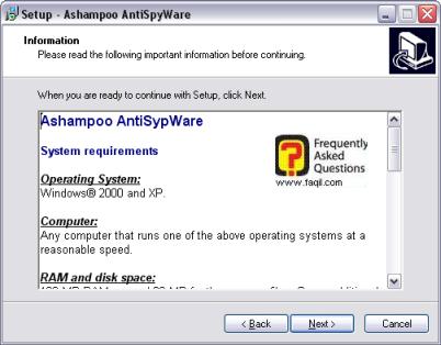 מסך דרישות התנאים המינימלים, להתקנת ashampoo