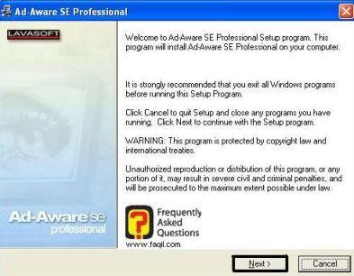 מסך ברוכים הבאים להתקנת Ad aware se/pro