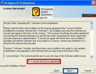 הסכם תנאי שימוש, להתקנת Ad aware se/pro