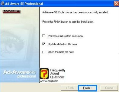 בחירה Finish, לסיום התקנת Ad aware se/pro