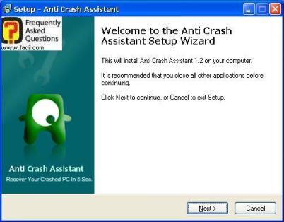 מסך ברוכים הבאים להתקנה, תוכנת  Anti-Crash Assistant