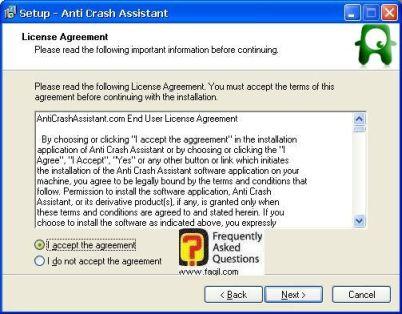 מסך הסכמה לתנאי הרישיון, תוכנת  Anti-Crash Assistant