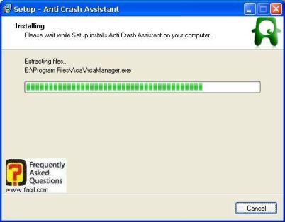 ההתקנה החלה, תוכנת  Anti-Crash Assistant