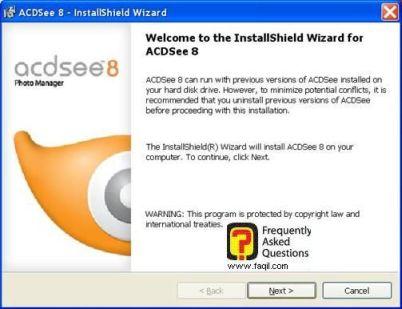מסך ברוך הבא להתקנה, לתוכנת Acdsee 8