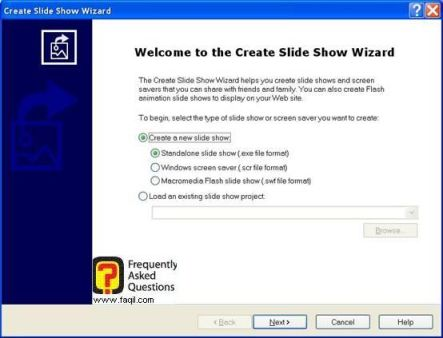 אפשרות Create slideshow file , לתוכנת Acdsee 8