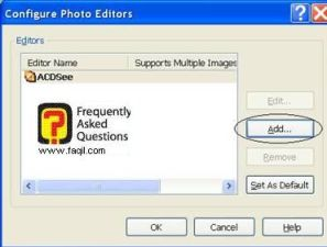 אפשרותconfigure photo editiors , לתוכנת Acdsee 8