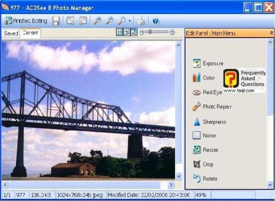 אפשרות עריכה של תמונה , לתוכנת Acdsee 8