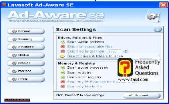 הגדרות חלון  Scan Settings , ל ad aware