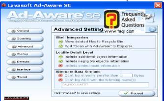 חלון  Settings Advanced    , ב ad aware