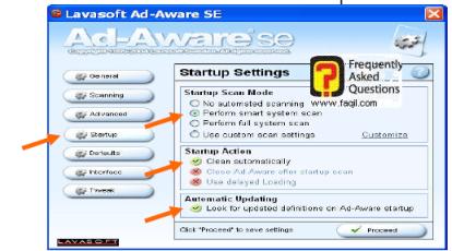 הגדרות Startup Settings    , ב ad aware