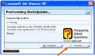הלחצן  Connect  , ב ad aware