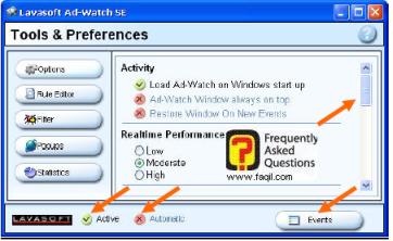 לחצן Options, ב ad aware