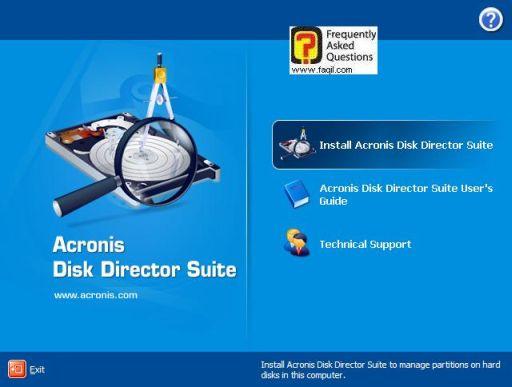 מסך בחירה, בחרו ב-Install Acronis Disk