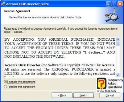 מסך תנאי שימוש, להתקנת   Acronis Disk