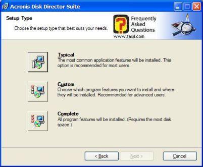 מסך בחירת התקנה, בחרו ב-Typical, להתקנת   Acronis Disk