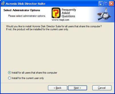 בחרו ב-Install for all, להתקנת   Acronis Disk