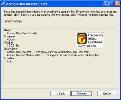 בחרו ב-proceed , להתקנת   Acronis Disk
