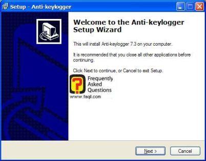 מסך ברוכים הבאים  , להתקנת  Anti Keylogger