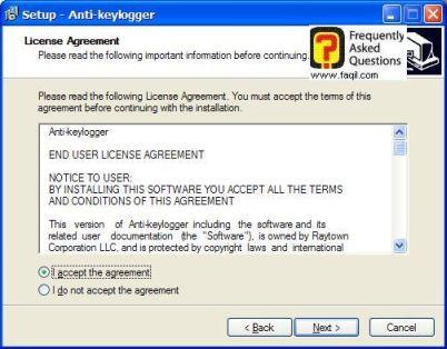 מסך תנאי שימוש  , להתקנת  Anti Keylogger