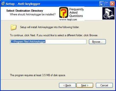 מסך מיקום יעד  , להתקנת  Anti Keylogger