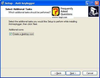 מסך יצירת אייקון לשולחן העבודה  , להתקנת  Anti Keylogger