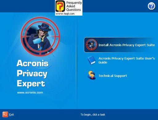 מסך בחירה ,בהתקנת  Acronis Privacy Expert