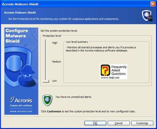 מסך הגדרות של  Acronis Privacy Expert