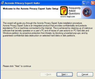 מסך ברוכים הבאים ,בהתקנת  Acronis Privacy Expert