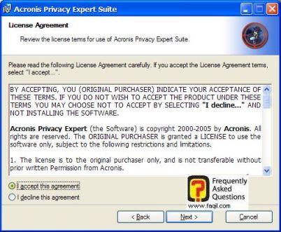 מסך תנאי שימוש,בהתקנת  Acronis Privacy Expert