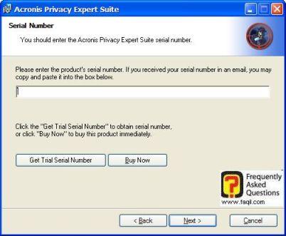 מסך כתיבת מספר הסיריאלי,בהתקנת  Acronis Privacy Expert