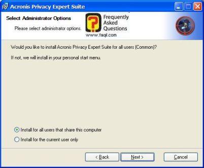 בחרו בInstall all user ,בהתקנת  Acronis Privacy Expert
