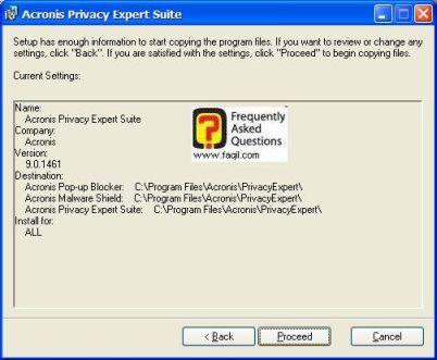 בחרו בProceed ,בהתקנת  Acronis Privacy Expert