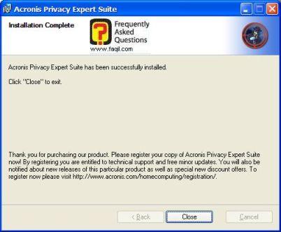 ההתקנה הסתיימה של   Acronis Privacy Expert
