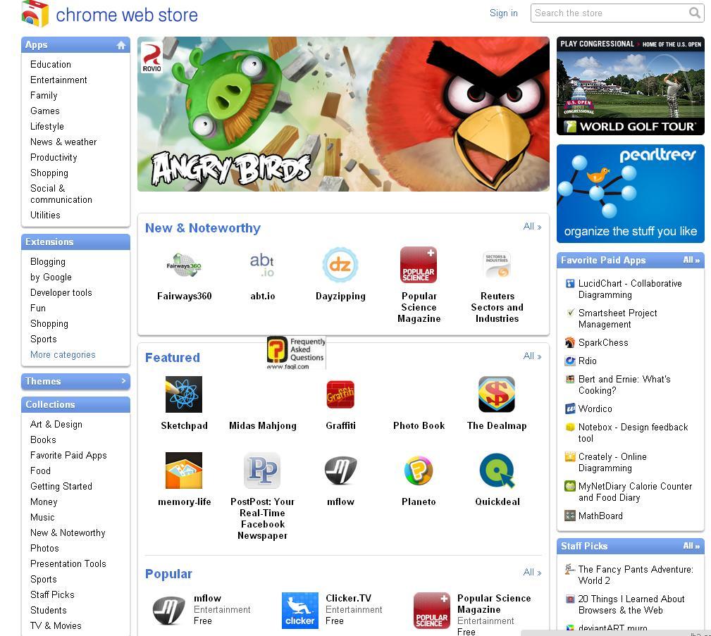 אתר האפליקציות של גוגל כרום
