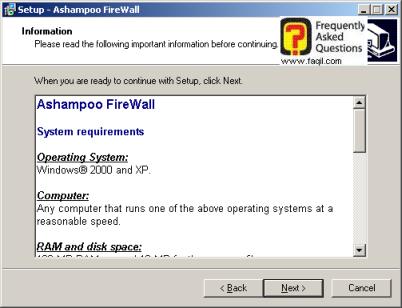 דרישות המערכת לתוכנה, להתקנת לפיירוול ashampoo