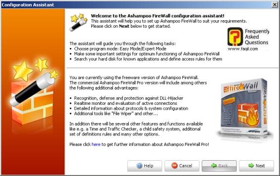 configuration assistant , פיירוול ashampoo