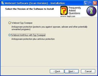 מסך בחירת התקנה-antivirus werboot