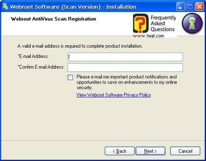 מסך לרשום אימייל-antivirus werboot