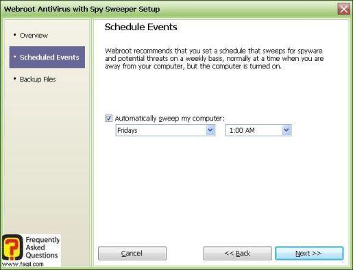 מסך בחירת זמן לסריקה שבועית -antivirus werboot