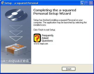 הסתיימת התקנת התוכנה, a squared