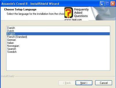 בחירת שפת התקנה , Assassin creed ii
