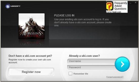 הקשת שם המשתמש והסיסמא בחשבון היוביסופט שלכם, Assassin creed ii