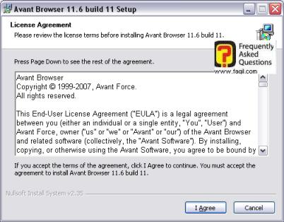 מסך הסכם רישיון, להתקנת דפדפן Avant