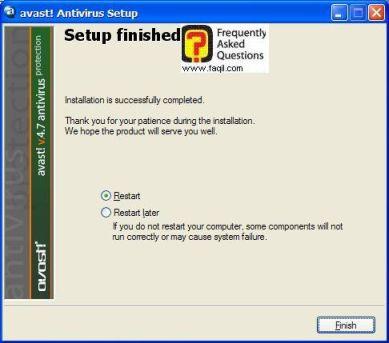 הפעלה מחדש של המחשב, כדי ש avast יפעל