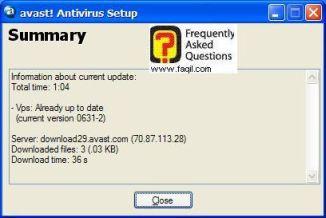 סיום עדכון אנטיוירוס Avast