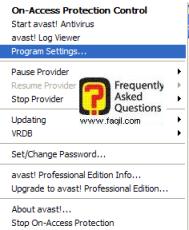 הגדרות התוכנה, אנטיוירוס Avast