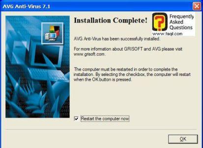 ההגדרות הראשונית עם   AVG 7.5 הסתיימה