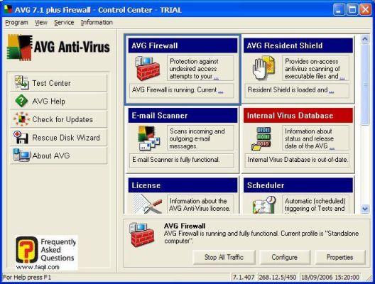 המסך הראשי של  AVG 7.5