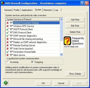 היישומים שנחסמו ושלא נחסמו, ב  AVG 7.5